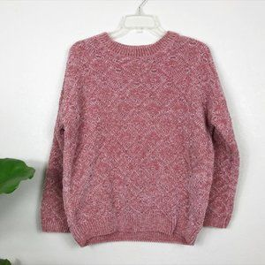 Pink Chenille knit crew neck sweater